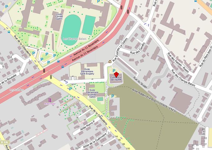 carte pour indiquer où se trouve le gymnase